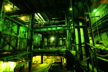 old factory in green tones