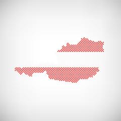 Österreich Flagge Karte Punkte