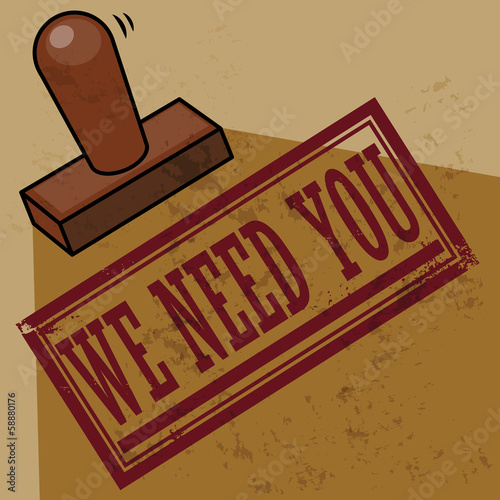 Stamp Wee Need You, vector illustration
