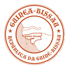 Grunge stamp with the name and map of Guinea Bissau