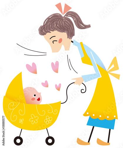 赤ちゃんに語りかけるお母さん