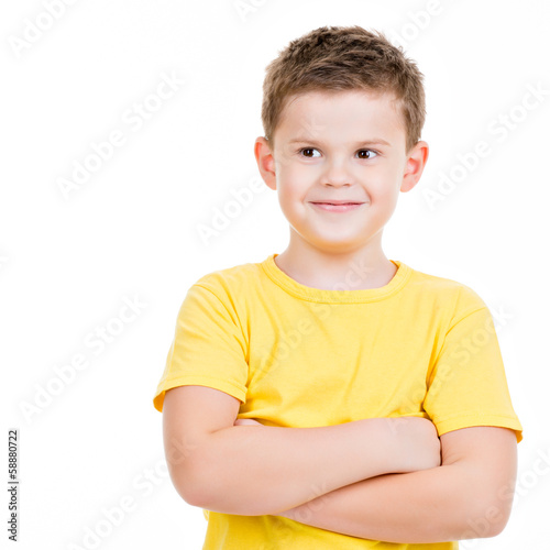happy little boy over white background