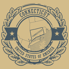Grunge rubber stamp with name and map of Connecticut, USA