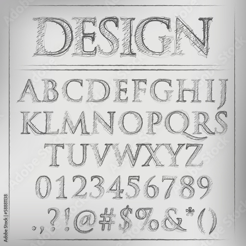 different types of letters abstract vector illustration of a pencil sketched alphabet 21369