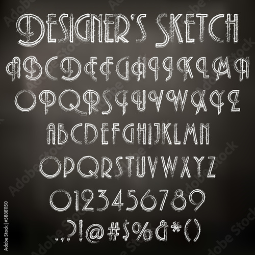 Vector illustration of chalk sketched characters