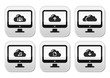 Computer and cloud vector buttons set for web