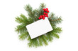 White card with green sprigs and holly berries