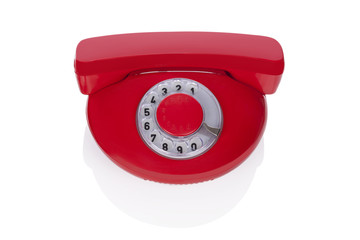 Red retro phone isolated.
