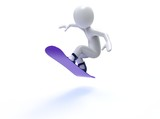 Winter Olimpic games. Snowboard. 3d man with snowbord on a white