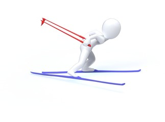 Winter Olimpic games. Ski. 3d man is skiing on a white