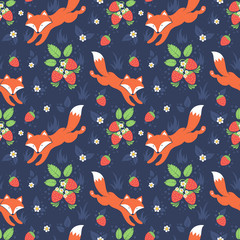 Foxes and wild strawberries seamless pattern
