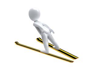 Winter Olimpic games. Ski jump. 3d man is ski jumping