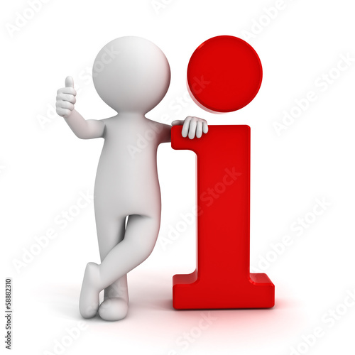 3d man showing thumbs up hand gesture red information icon