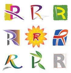 Ensemble d'Icones Lettre R pour Design Logos
