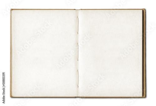 Leinwanddruck Bild Vintage blank open notebook