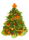 Christmas tree made of different vegetarian food