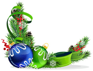 Christmas tree balls with green ribbon