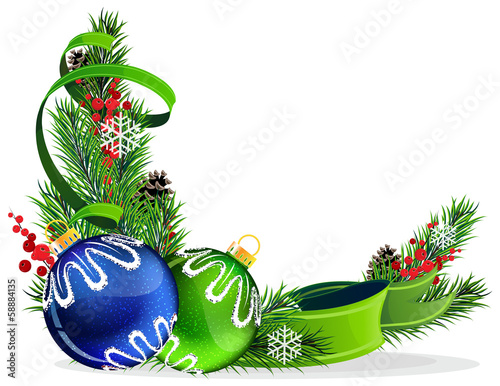Christmas tree balls with green ribbon