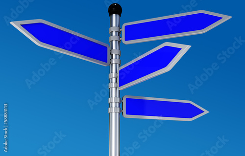 Blank road signs in bright sky