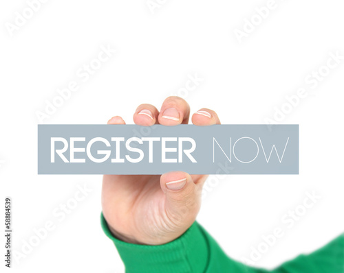 woman holding a label with register now