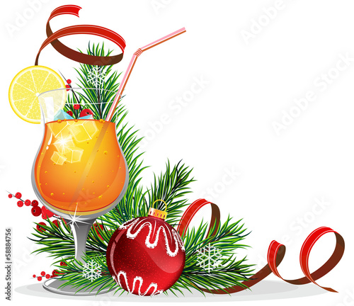 Orange cocktail, spruce branches and baubles