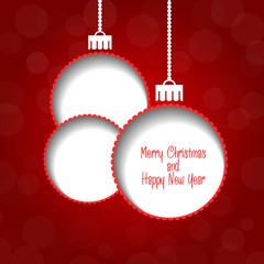 Christmas vector background - baubles with text