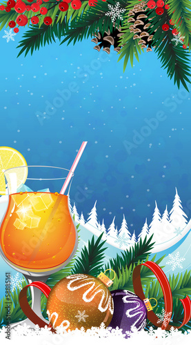 Tropical cocktail on a winter background