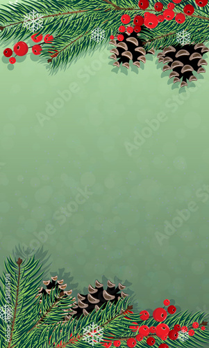 Winter background with Christmas tree and red berries