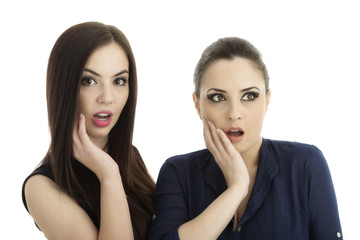 two women friends made a gesture of surprise