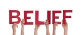 Hands Holding Belief poster
