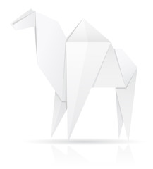 origami paper camel vector illustration