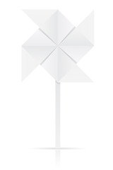 origami paper windmill vector illustration