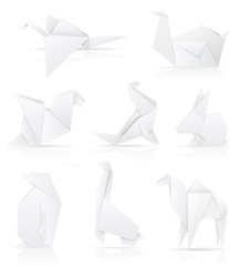 set icons origami paper animals vector illustration