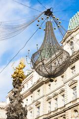 Graben Street at Christmas time with Plague Column, Vienna, Aust