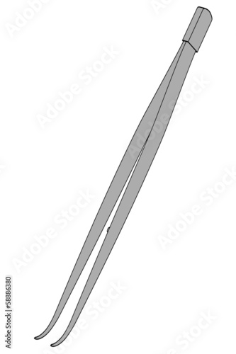 cartoon image of curved forceps