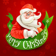 Christmas card with Santa Claus on red background