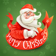 Christmas card with Santa Claus on green background
