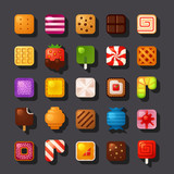 square shaped dessert icon set