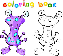 Purple monster coloring book