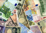 Hard currency banknotes background