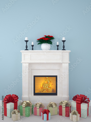 Gifts near the fireplace