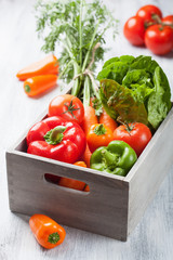 various fresh vegetable in box