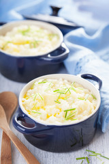 mashed potatoes in small pots