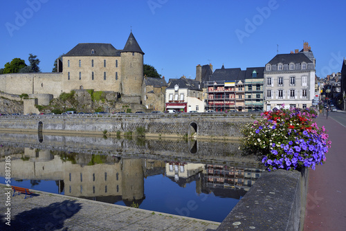 Castle and river of Mayenne in France