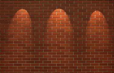 Fragment of the shined brick wall with three spot light