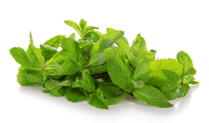 Heap of green fresh spearmint with the water drops
