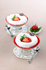 Dessert strawberry mousse and peppermint