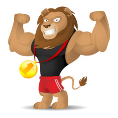 Lion athlete shows muscles