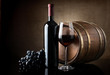 Red wine and wooden barrel