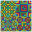 Psychedelic Pattern Set with optic 3D illusion